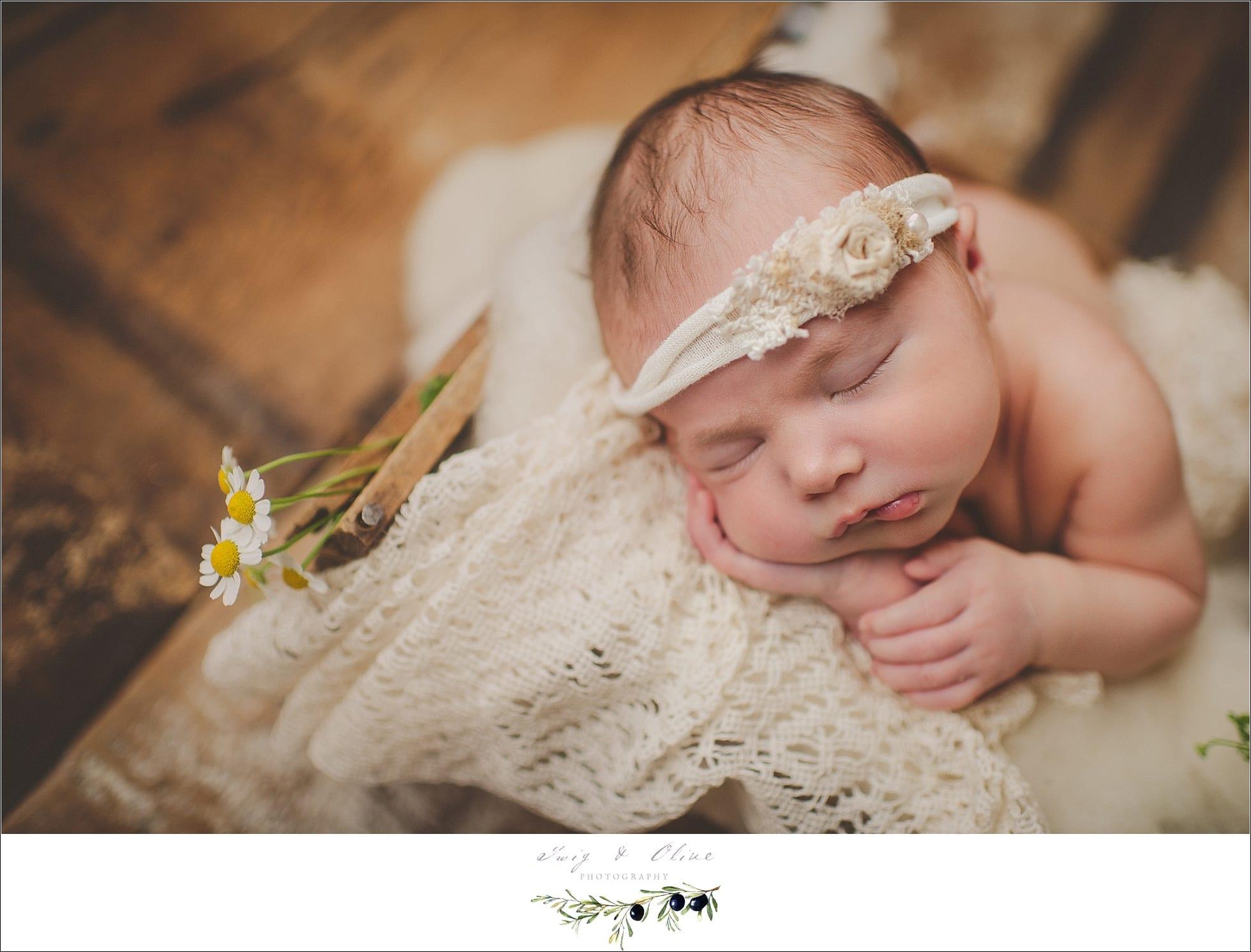 head flower, Newborn session Madison, WI